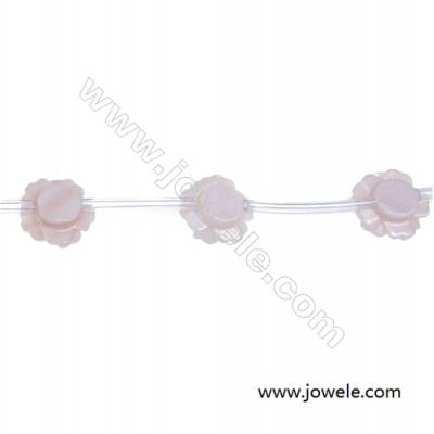 Pink mother-of-pearl rose designed 10mm strand beads hole diameter 0.7mm 15 beads / strand