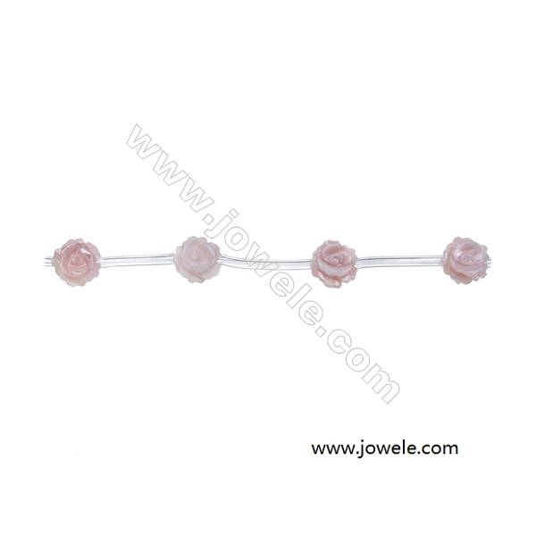 Pink mother-of-pearl shell rose strand beads, Diameter 8 mm, Hole 0.7 mm, 15 beads/strand