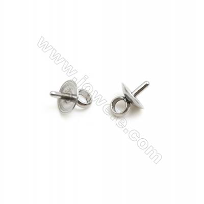 304 Stainless Steel Cup Pearl Bail Pin Pendants  Size 5x7mm  Pin 1mm  Hole 2mm  200 pcs/pack