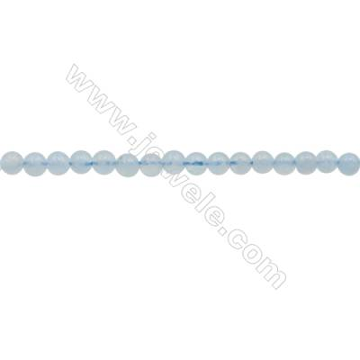 3mm Natural Aquamarine Beads Strand  Round  hole 0.7mm  about 133 beads/strand  15~16""