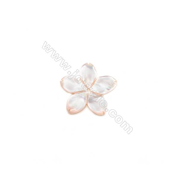 Pink Mother-of-Pearl Shell, Flower, 13.5mm, Hole 0.8mm, 20pcs/pack