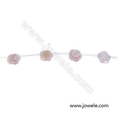 Pink  mother-of-pearl shell rose strand beads diameter 8 mm  hole diameter 0.7 mm 15 beads / strips