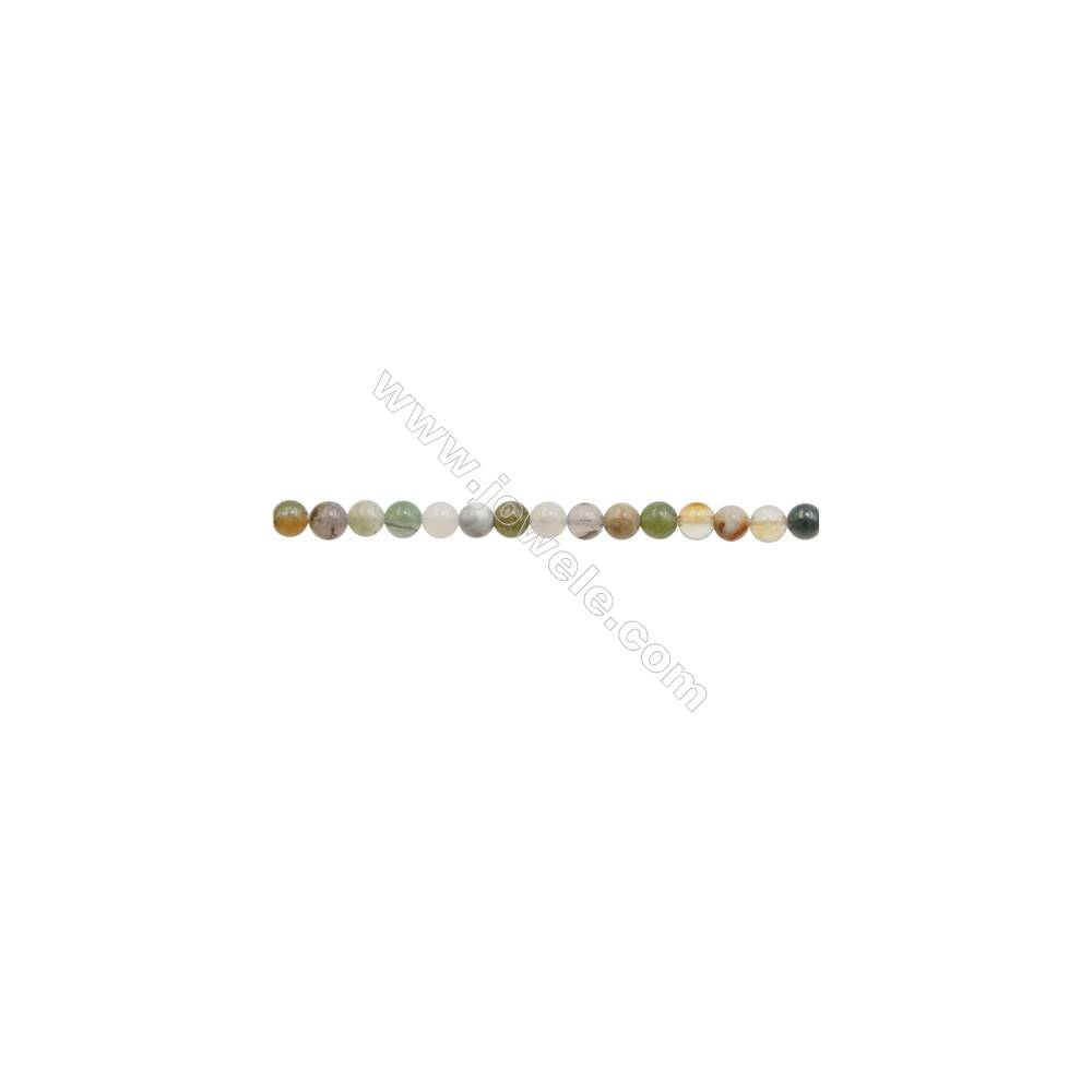 """3mm Bamboo Leaf Agate Beads Strand  Round  hole 0.7mm  about 129 beads/strand  15~16"""""""
