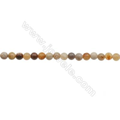 3mm Natural Chrysanthemum Stone Beads Strand  Round  hole 0.7mm  about 131 beads/strand  15~16""