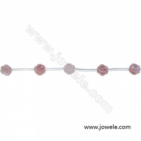 Rose shape pink mother-of-pearl shell strand beads, Diameter 6mm, Hole 0.6mm, 15 beads/strand