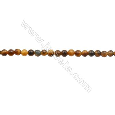 3mm Natural Tiger Eye Loose Beads  Round  hole 0.7mm  about 129 beads/strand  15~16""