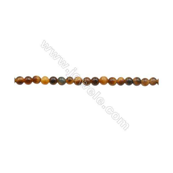 """3mm Natural Tiger Eye Loose Beads  Round  hole 0.7mm  about 129 beads/strand  15~16"""""""