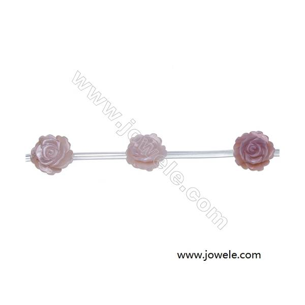 Pink mother-of-pearl shell rose beaded strand, Diameter 12mm, Hole 0.7mm, 15 beads/strand