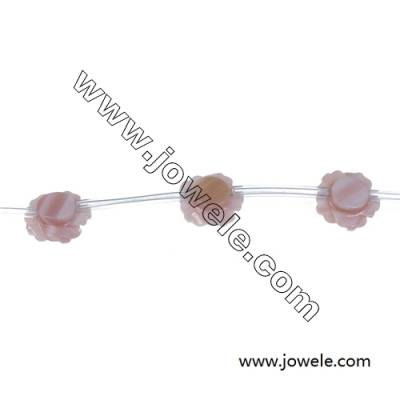 Pink mother-of-pearl shell  12mm rose beaded strand  hole diameter 0.7mm 15 beads/strand