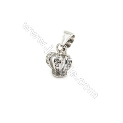 925 Sterling Silver Crown Pinch Bail  Rhodium  7x9mm  Pin 0.77mm  Cubic Zirconia Micro Pave