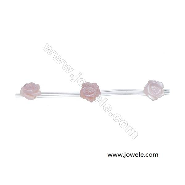 Rose-shaped pink mother of pearl shell beaded strand, diameter 10 mm, hole 0.7mm, 15 beads/strand