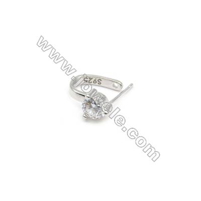 925 Sterling Silver Diamond Pinch Bail Rhodium  10x14mm  Pin 0.7mm  Cubic Zirconia Micro Pave
