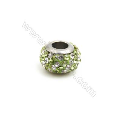 304 Stainless Steel Rhinestone European Style Beads, Size 7x12mm, Hole 4.5mm, 30pcs/pack