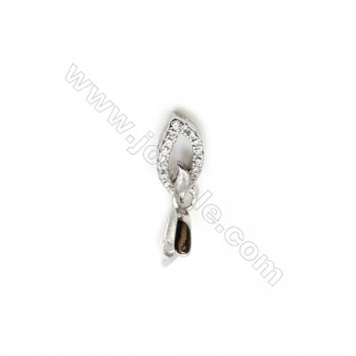 925 Sterling Silver Leaf Pinch Bail  Rhodium  5x11mm  Pin 0.63mm  Cubic Zirconia Micro Pave