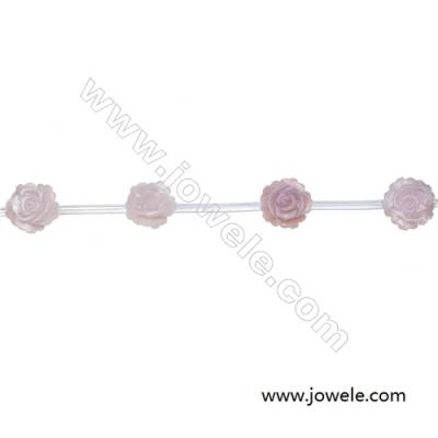 Rose shape pink mother-of-pearl shell beaded strand, Diameter 8mm, Hole 0.7mm, 15 beads/strand