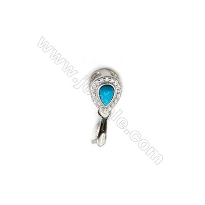 925 Sterling Silver Blue Turquoise Pinch Bail Rhodium  6x15mm  Pin 0.77mm  Cubic Zirconia Micro Pave
