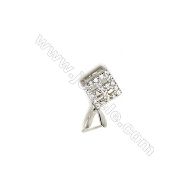 925 Sterling Silver Box Pinch Bail  Rhodium  9x10mm  Cubic Zirconia Micro Pave