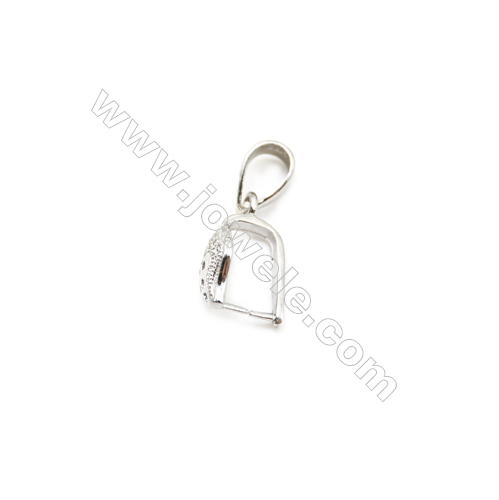 925 Sterling Silver Strawberry Pinch Bail Rhodium  6x16mm  Pin 0.62mm  Cubic Zirconia Micro Pave
