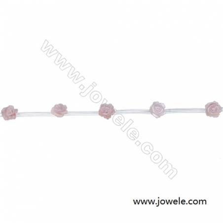 Pink mother-of-pearl shell rose-shaped strand beads, Diameter 6mm, Hole 0.6mm, 15beads/Strand