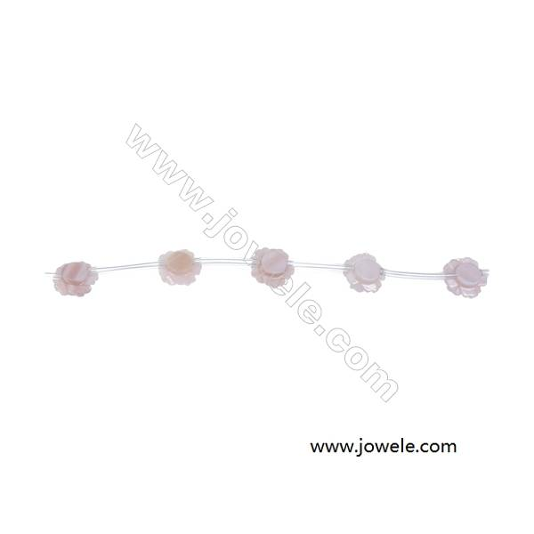 Pink mother-of-pearl shell  rose-shaped 6mm strand beads  hole diameter 0.6mm 15beads / Strand