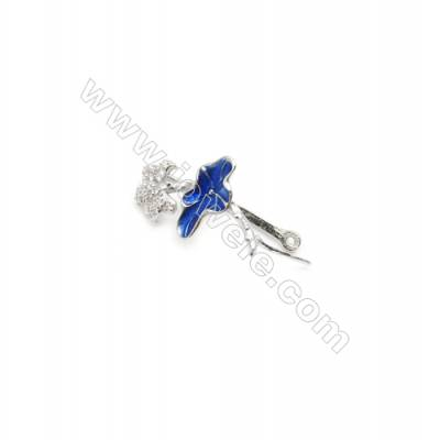 925 Sterling Silver Flower Pinch Bail  Rhodium 13x21mm  Pin 0.87mm  Cubic Zirconia Micro Pave