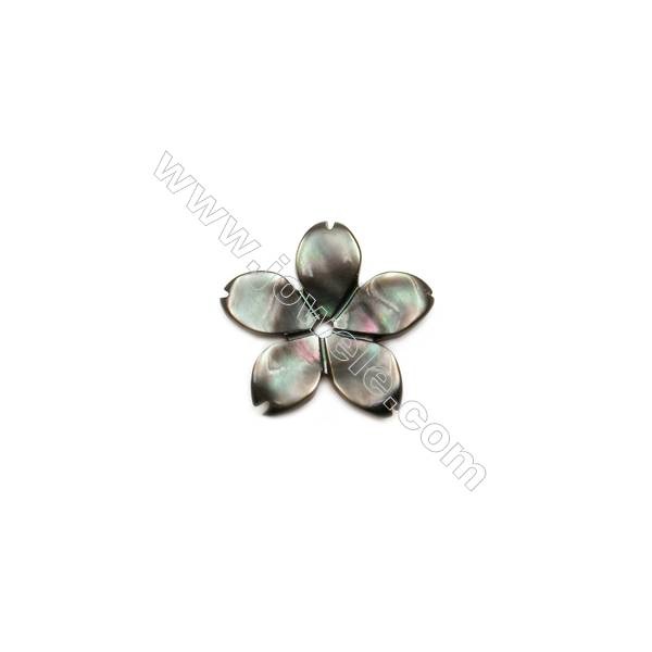 Natural Gray Mother-of-Pearl Shell, Five-leaf Flower, 13mm, Hole 0.8mm, 30pcs/pack