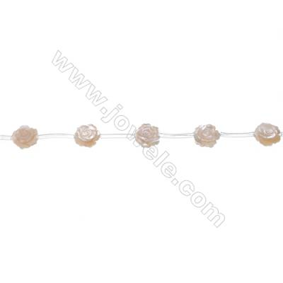 Yellow mother-of-pearl shell rose-designed strand beads, Diameter 12mm, Hole 0.7mm, 15 beads/strand