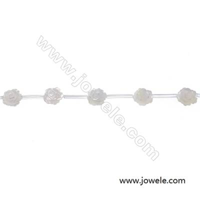 White mother-of-pearl rose-shaped  12mm strand beads  hole diameter 0.7mm 15 beads /strand