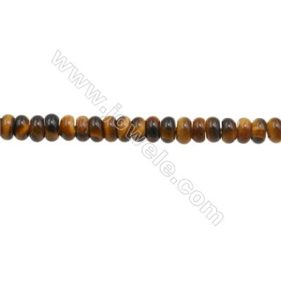 3x6mm Natural Tiger Eye Loose Beads  Abacus  hole 1mm  about 135 beads/strand  15~16""