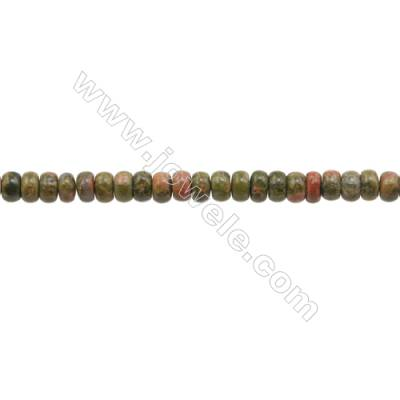 3x4mm Natural Unakite Beads Strand  Abacus  hole 0.8mm  about 140 beads/strand  15~16""