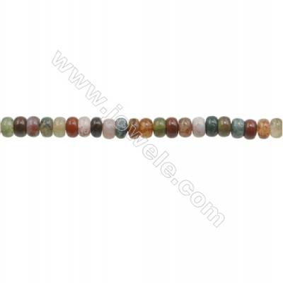 3x4mm Natural Indian Agate Beads Strand  Abacus  hole 0.8mm  about 133 beads/strand  15~16""