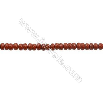 3x4mm Natural Red Jasper Beads Strand  Faceted Abacus  hole 0.8mm  about 135 beads/strand  15~16""