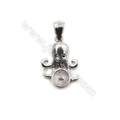 925 sterling silver platinum plated CZ pendant, 11x16mm, x 10 pcs, tray 5mm, needle 0.5mm