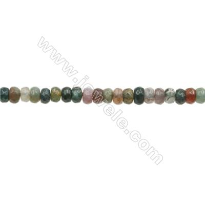 3x4mm Natural Indian Agate Beads Strand  Faceted Abacus  hole 0.8mm  about 135 beads/strand  15~16""