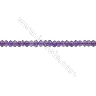 3x4mm Natural Amethyst Beads Strand  Faceted Abacus  hole 0.8mm  about 140 beads/strand  15~16""