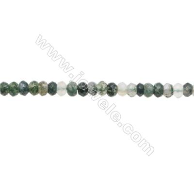 3x4mm Natural Moss Agate Beads Strand  Faceted Abacus  hole 0.8mm  about 140 beads/strand  15~16""