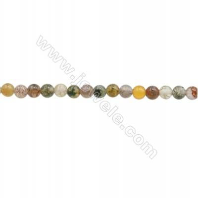 3mm Natural Indian Agate Beads Strand  Round  hole 0.7mm  about 129 beads/strand  15~16""