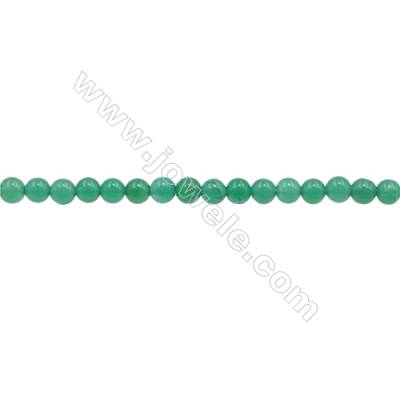 3mm Natural Green Agate Beads Strand  Round  hole 0.7mm  about 132 beads/strand  15~16""