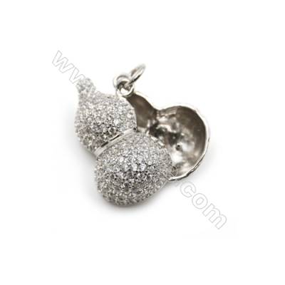 925 Silver platinum plated CZ pendants findings accessories for women jewerly making, 12x24mm, x 5pcs, pin 0.5mm