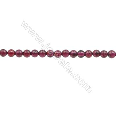 3mm Natural Garnet Beads Strand  Round  hole 0.7mm  about 135 beads/strand  15~16""