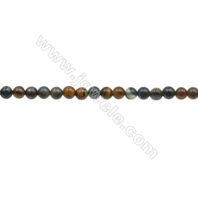 3mm Natural Tiger Eye Loose Beads  Round  hole 0.7mm  about 133 beads/strand  15~16""