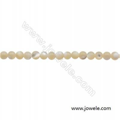 3mm Mother-of-pearl Shell Beads Strand  Round  hole 0.7mm  about 128 beads/strand  15~16""