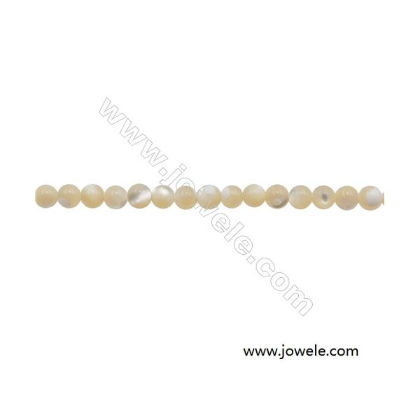 """3mm Mother-of-pearl Shell Beads Strand  Round  hole 0.7mm  about 128 beads/strand  15~16"""""""
