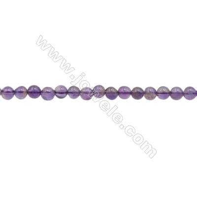 3mm Natural Amethyst Beads Strand  Round  hole 0.7mm  about 132 beads/strand  15~16""