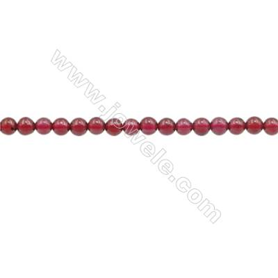 3mm Natural Garnet Beads Strand  Round  hole 0.7mm  about 136 beads/strand  15~16""