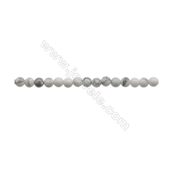 3mm Natural Howlite Beads Strand  Round  hole 0.7mm  about 134 beads/strand  15~16""