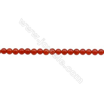 3mm Natural Red Agate Beads Strand  Round  hole 0.7mm  about 135 beads/strand  15~16""
