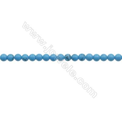 3mm Synthetic Blue Turquoise Beads Strand  Round  hole 0.7mm  about 132 beads/strand  15~16""