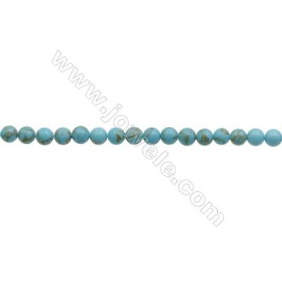 3mm Synthetic Turquoise Beads Strand  Round  hole 0.7mm  about 134 beads/strand  15~16""