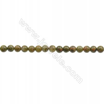 3mm Natural Unakite Beads Strand  Round  hole 0.7mm  about 133 beads/strand  15~16""